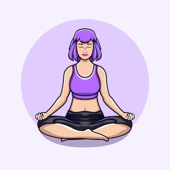 Yoga donna con i capelli corti