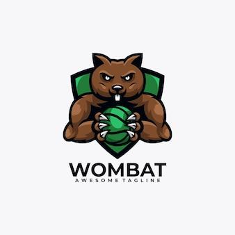 Illustrazione vettoriale di design del logo sportivo wombat