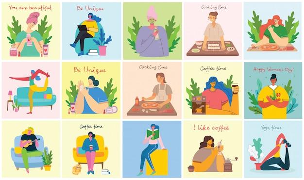 Sfondi di attività femminili. donne che fanno yoga, cucinando, leggendo e lavorando concetto nello stile piano