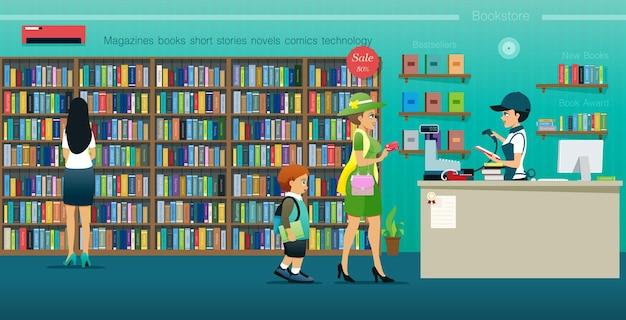 Le donne acquistano libri con una carta di credito all'interno della libreria