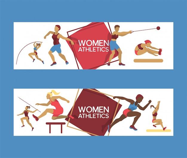 Insieme di atletismo delle donne dell'illustrazione delle insegne. allenamento di ginnastica. esercizio femminile in diverse pose. le figure femminili si stanno allenando nel club sportivo. correre e saltare.