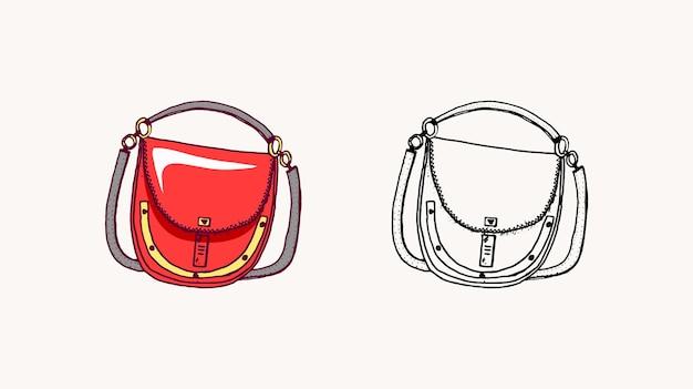 Illustrazione disegnata a mano degli accessori di moda di scarabocchio di stile dell'annata della borsa delle donne
