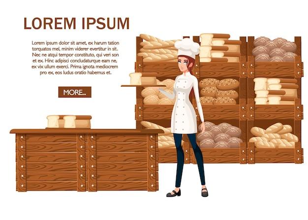 Chef di panetteria donne. illustrazione su sfondo bianco.