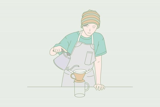 Barista delle donne che fa il caffè americano.