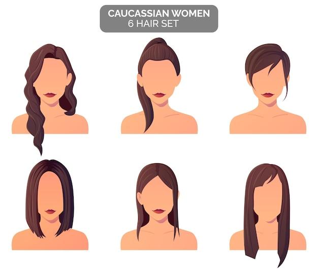 Collezione di acconciature da donna marrone, capelli dritti e mossi premium vector