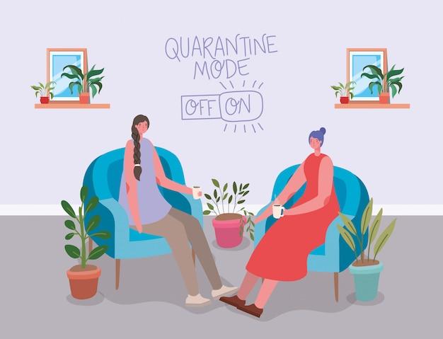 Fumetti delle donne che bevono caffè su progettazione della sedia dell'illustrazione di tema dell'aroma e della caffeina del deposito di mattina del negozio della bevanda della prima colazione della bevanda di tempo