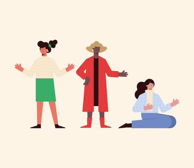 Cartoni animati di donne impostati su sfondo bianco