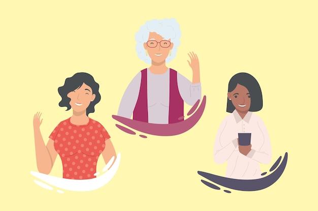 Set di cartoni animati di donne