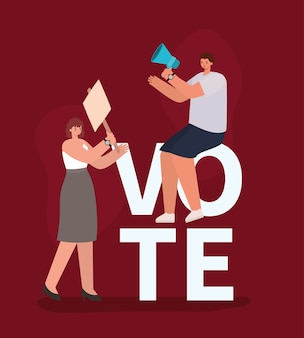 Cartoni animati di donne con cartellone e design del megafono, giorno delle elezioni di voto e tema del governo.