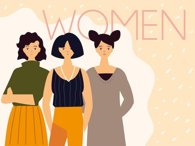 Carattere femminile giovane femmina nell'illustrazione di vestiti moderni