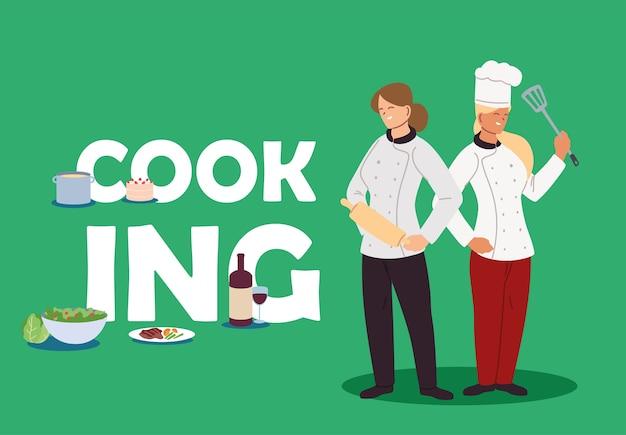 Donne di chef che cucinano a casa design illustrazione