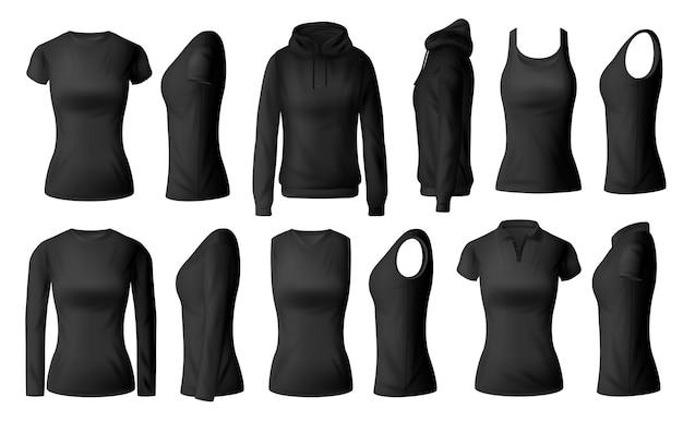 Abbigliamento donna isolato magliette nere polo, felpa con cappuccio e camicie a maniche lunghe con mockup di abbigliamento singoletto. indumento femminile realistico 3d, biancheria intima