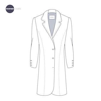 Cappotto delle donne. stile di linea sottile di vestiti.