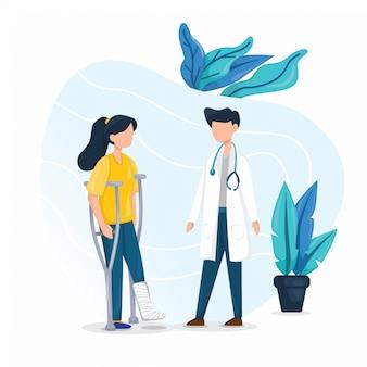 Donne che consultano l'illustrazione del medico