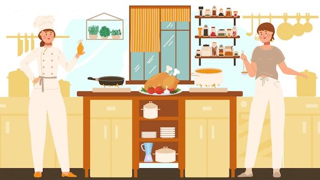 Donne che cucinano in cucina, cuoco unico professionista e casalinga, illustrazione della gente