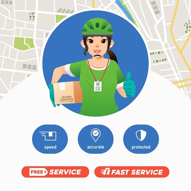 Il servizio di consegna del corriere delle donne porta il pacchetto e dà il pollice in alto, la mascotte dell'azienda deliverry con la mappa