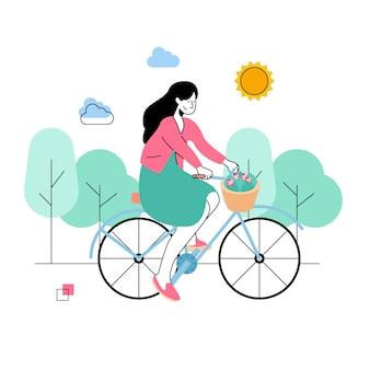 Le donne in bicicletta in primavera