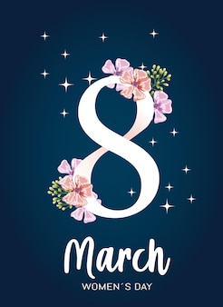 Biglietto di auguri per la giornata delle donne con decorazioni di fiori
