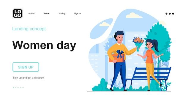 Modello di pagina di destinazione del giorno delle donne