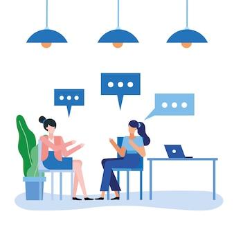 Donne alla scrivania con bolle nel design dell'ufficio, forza lavoro di oggetti aziendali e tema aziendale
