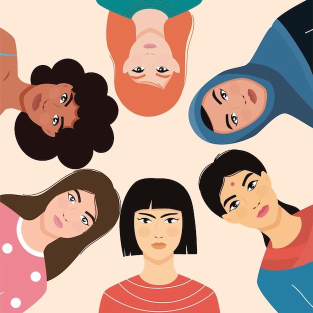 Donne di diverse nazionalità. femminismo. ragazze di nazionalità asiatica, europea, africana.