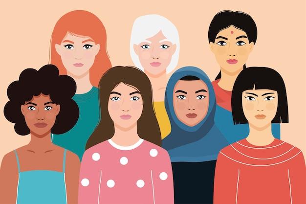 Donne di diverse nazionalità. ragazze di nazionalità asiatica, europea, africana.