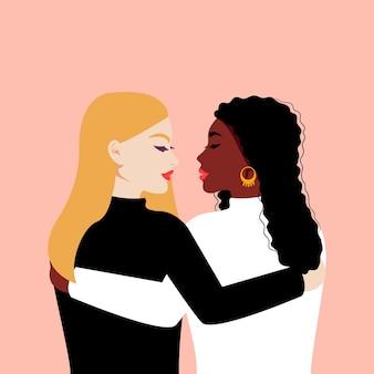 Donne di razza diversa si abbracciano. girl power. giornata internazionale della donna. piatto Vettore Premium