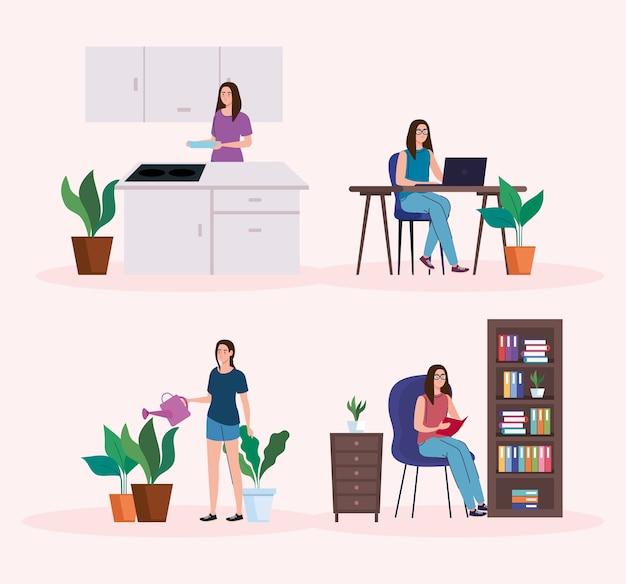 Donne che svolgono attività da home design di telelavoro e tema di attività.