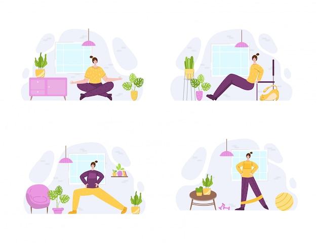 Donne che fanno esercizi sportivi a casa. allenamento al coperto o concetto di allenamento.