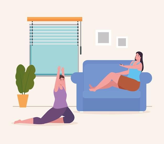 Donne che fanno yoga e con controllo a casa design di attività e tempo libero
