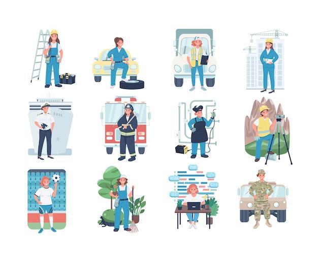Set di caratteri dettagliati di colore piatto di occupazione delle donne