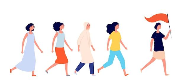 Emancipazione femminile. donna forte, supporto di giovani amiche. femminismo o lavoro di squadra di potere della ragazza, gruppo di attivisti insieme concetto vettoriale. protesta femminista, illustrazione della sorellanza femminile insieme
