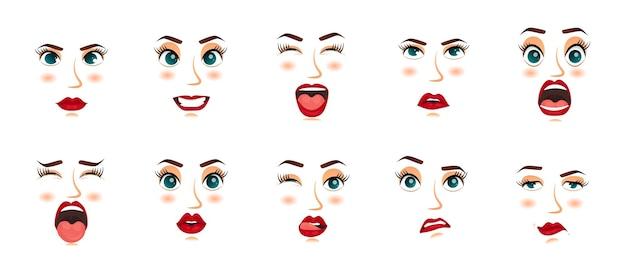 Donne espressioni facciali gesti emozioni felicità sorpresa disgusto tristezza rapimento