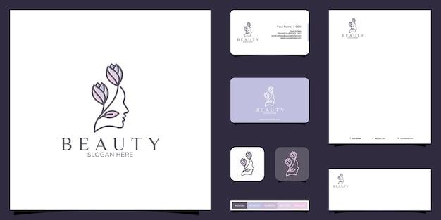 Logo di donne e fiori e design dell'identità del marchio