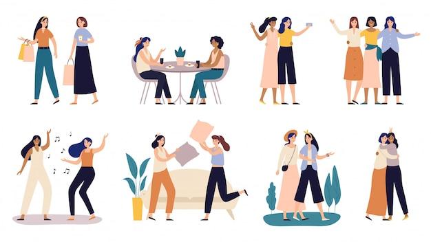 Amiche donne. le amiche trascorrono del tempo insieme, camminando con l'illustrazione dell'illustrazione di combattimento del cuscino delle ragazze e dell'amico Vettore Premium
