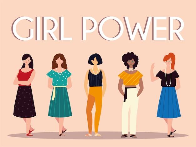 Potere della ragazza delle donne, illustrazione insieme dei personaggi femminili