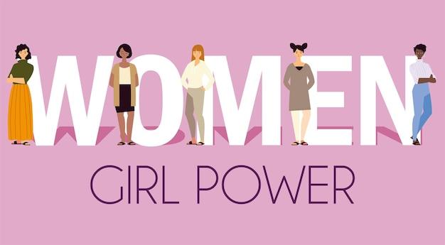 Potere della ragazza delle donne, personaggi femminili con l'illustrazione dell'iscrizione