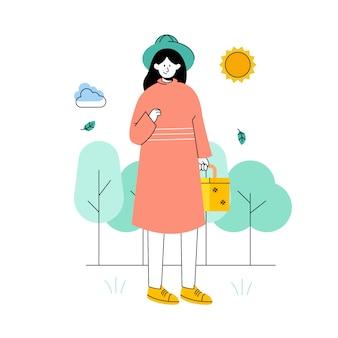 Le donne fanno un picnic in primavera