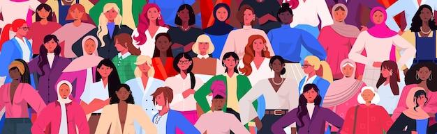 Gruppo di donne che celebra l'illustrazione internazionale della festa della donna dell'8 marzo