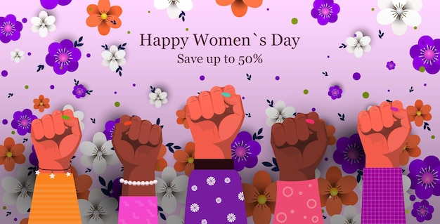 Gruppo di donne che alza i pugni per il banner di vendita della festa della donna dell'8 marzo