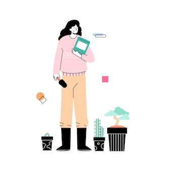 Le donne coltivano fiori in giardino in primavera