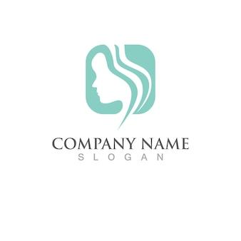 Vettore di logo di stile di capelli delle donne