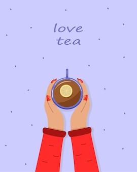 Le mani delle donne tengono una tazza di tè caldo al limone. vista dall'alto. illustrazione vettoriale.