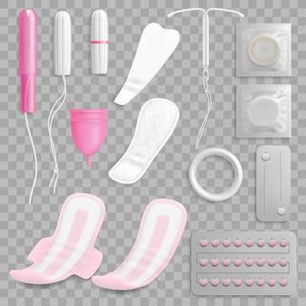 Insieme di vettore realistico di igiene e contraccezione delle donne, sfondo trasparente. assorbenti o tovaglioli per le mestruazioni femminili, tampone, coppetta mestruale, pillole contraccettive e preservativi, anello vaginale, iud