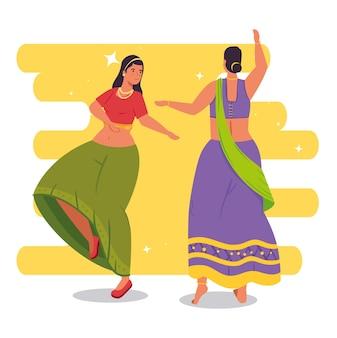 Donne indiane con vestiti tradizionali danzanti illustration design