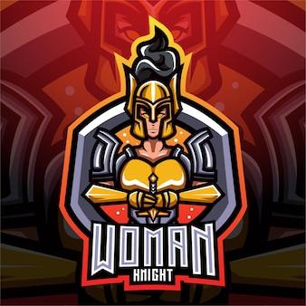Logo della mascotte di esport delle donne cavaliere