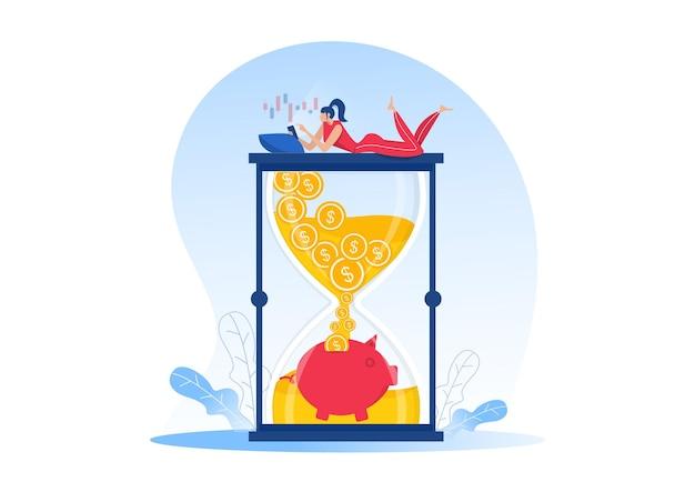 Le donne guadagnano dal negozio online, dal reddito passivo, dal flusso di cassa, fanno soldi nell'e-commerce per la progettazione di siti web. illustrazione vettoriale piatto