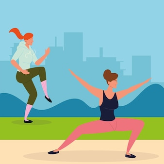 Donne che fanno esercizi di stretching