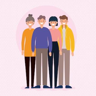 Avatar di uomini e donne cartoni animati design sorridente, persona persone e tema umano.