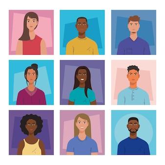 Cartoni animati di donne e uomini nel design di cornici, diversità persone amici multiculturali e tema multietnico